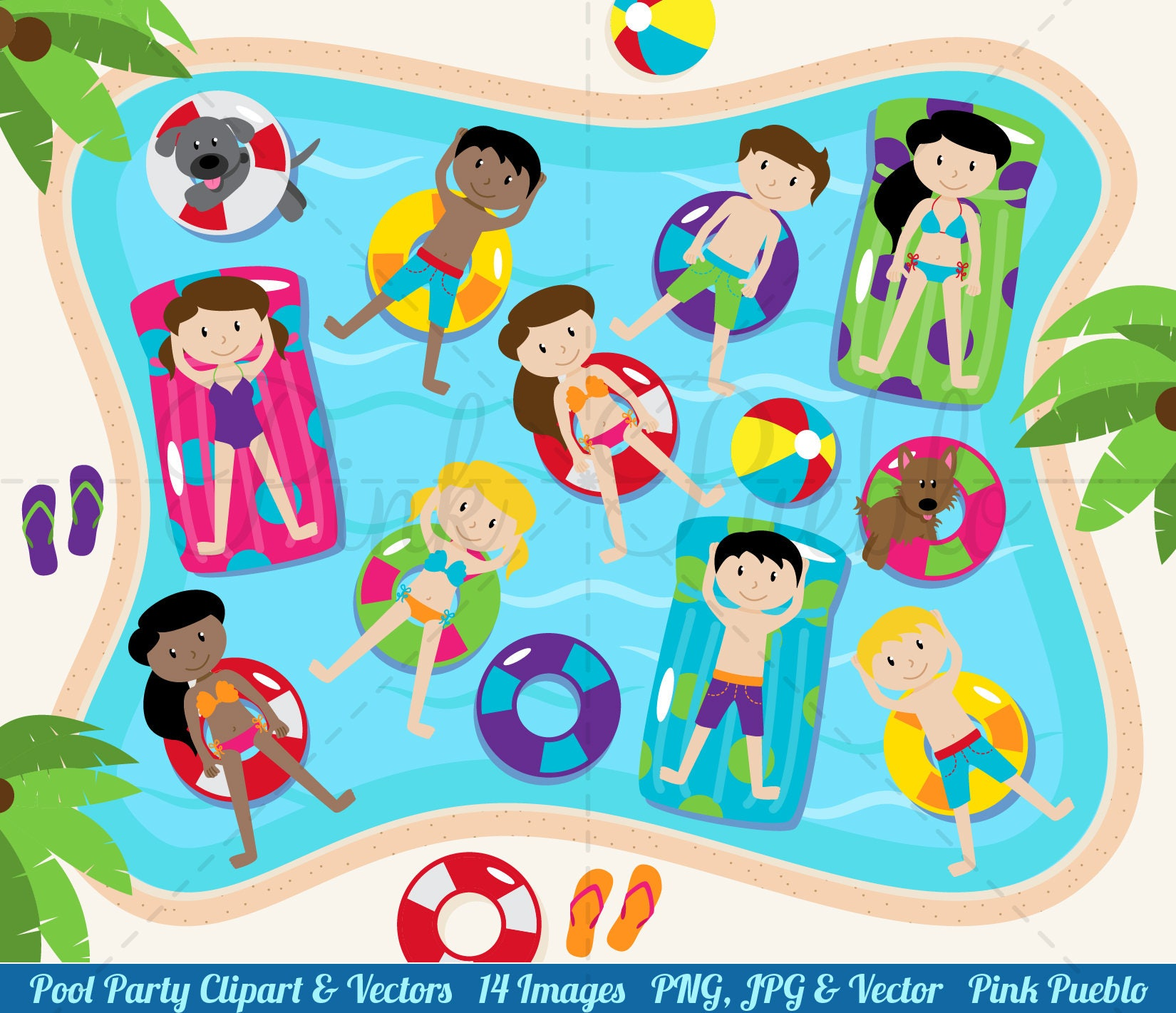 Pool Party Clipart Pool Party Clip Art for Pool Party | Etsy