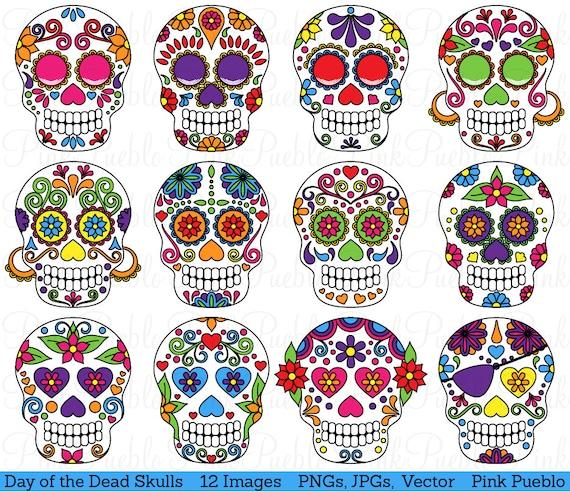 Day of the Dead Skull Clipart Clip Art Sugar Skulls Clipart | Etsy
