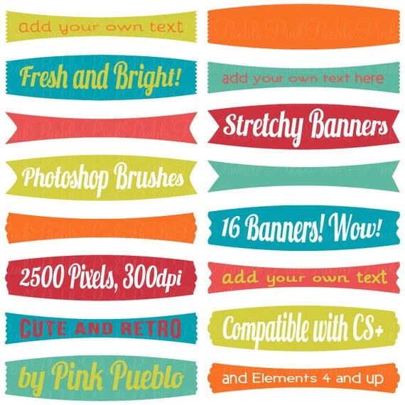 stretchy banners photoshop brushes frame label tag photoshop etsy