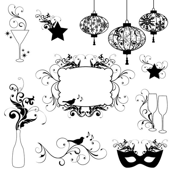 New Years Clip Art Clipart New Years Silhouettes Clip Art Etsy