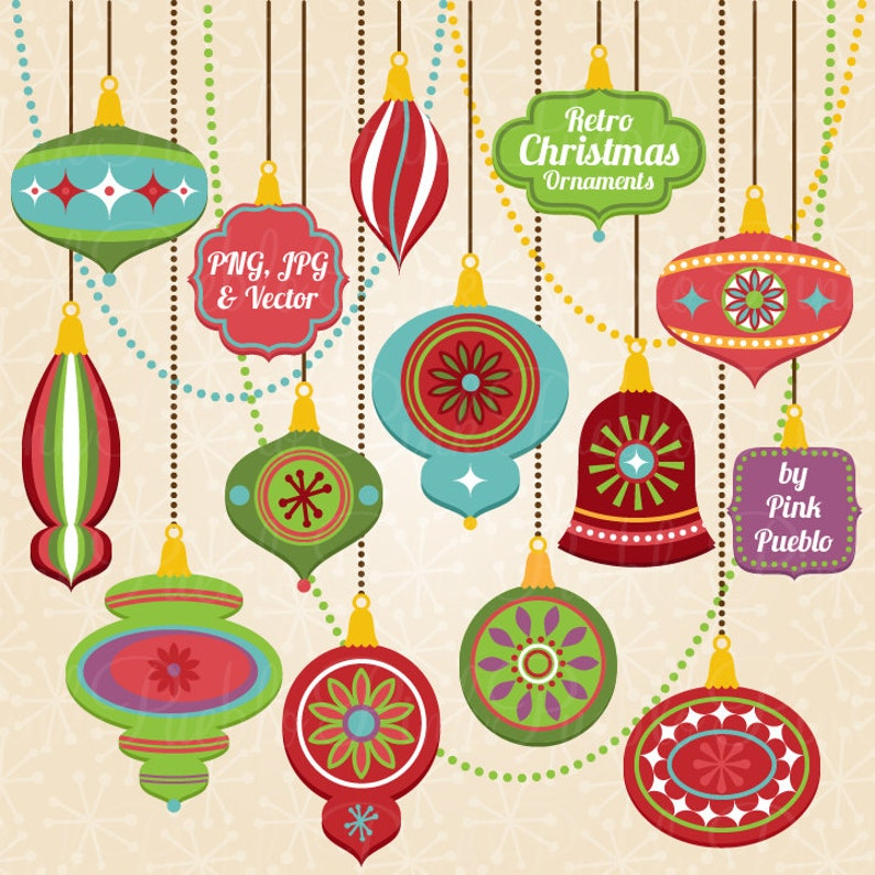 Retro Christmas Ornament Clipart Clip Art Vintage Christmas Decorations Clipart Clip Art Vectors Commercial Use