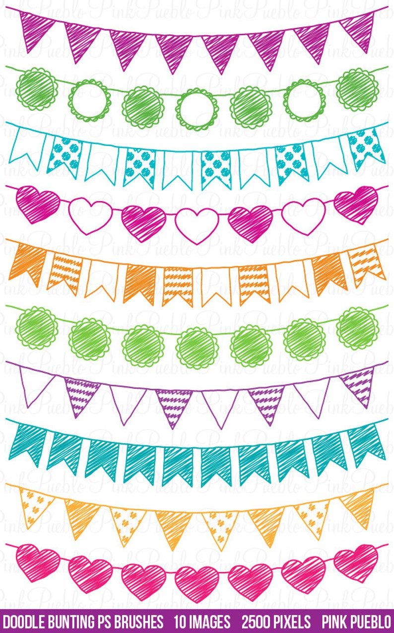 Doodle Bunting Photoshop Brushes, Doodle Flag Banner Ribbon Photoshop Brush  - Commercial and Personal Use