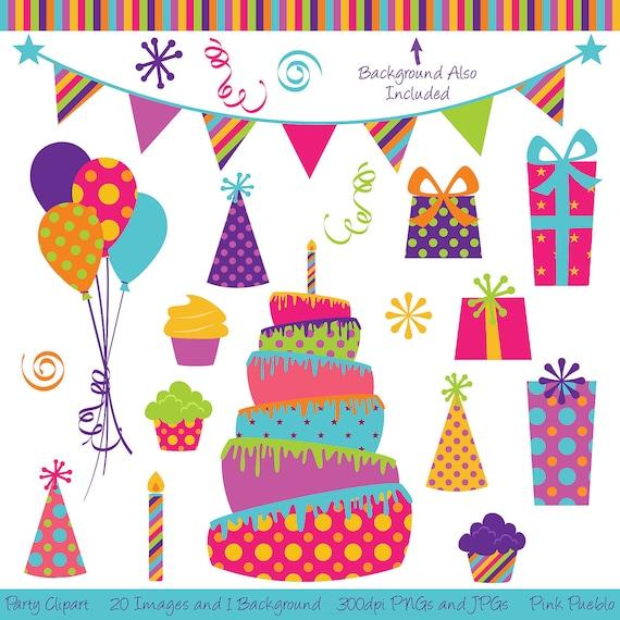 Party Clipart Clip Art Birthday Cake Clipart Clip Art Etsy