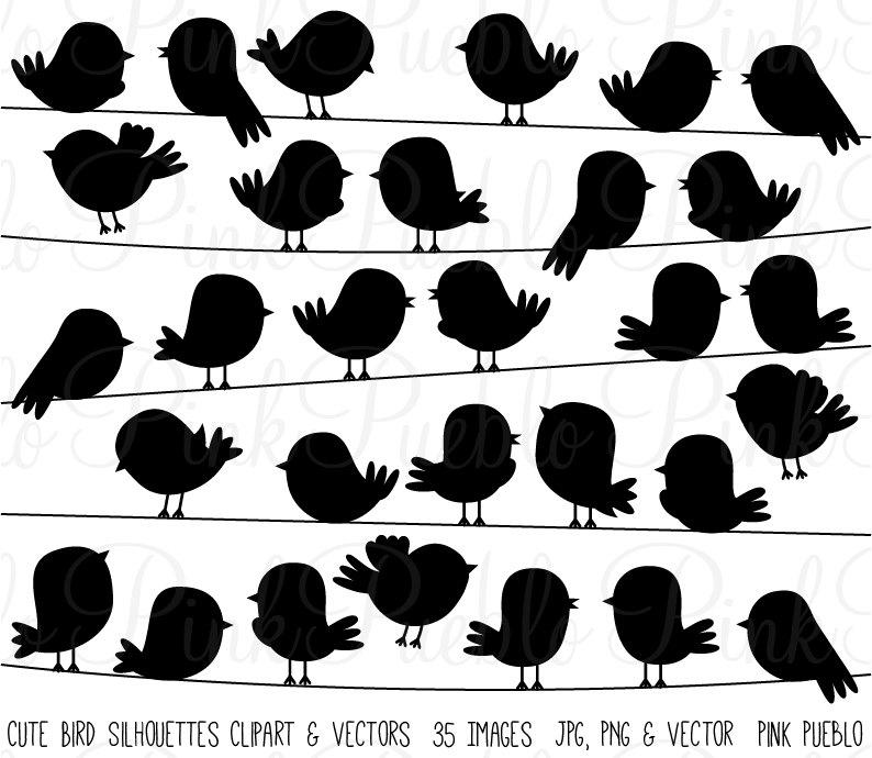 Niedlichen Vogel Silhouetten Clipart ClipArt Vektoren fliegen | Etsy