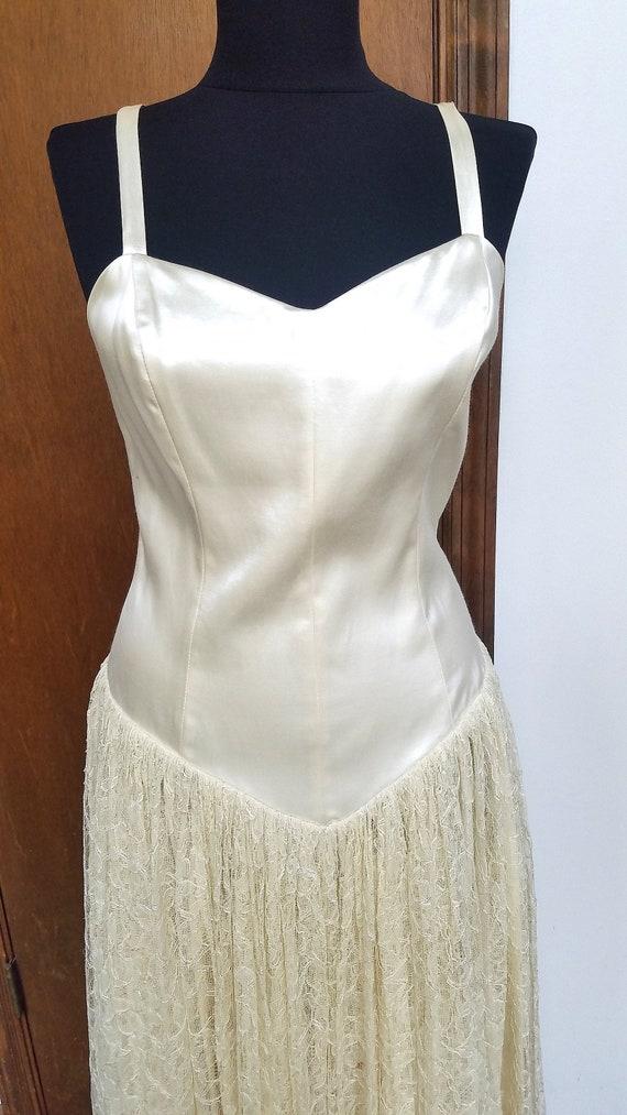 Norma Kamali Ivory Cream Satin Lace Dress 1980s Vi