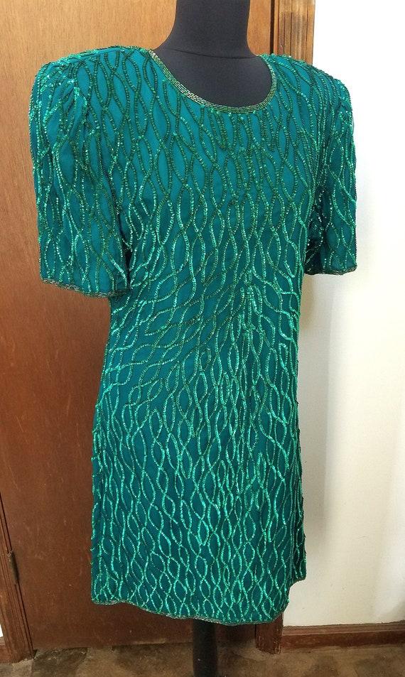 Silk Dress Green Sequins Laurence Kazar XL Holiday