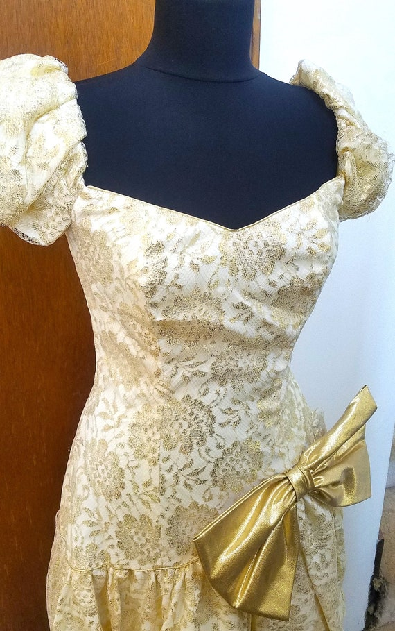 Gold White 80s Asymmetrical Vintage Dress, Big Bow