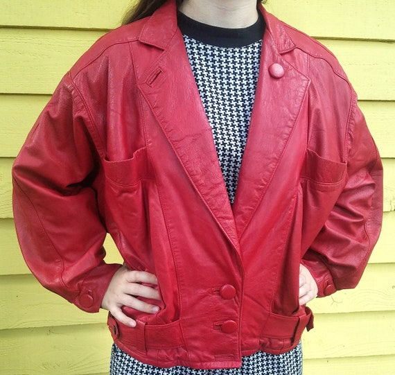 Red Leather Jacket Dolman Sleeves Big Buttons 1980