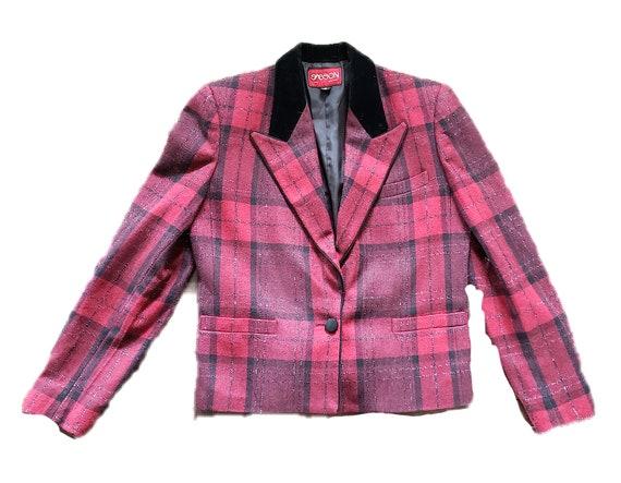 Red Plaid Sasson Jacket Blazer Velvet Collar Size… - image 6