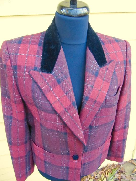 Red Plaid Sasson Jacket Blazer Velvet Collar Size… - image 5