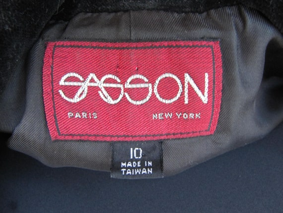 Red Plaid Sasson Jacket Blazer Velvet Collar Size… - image 3