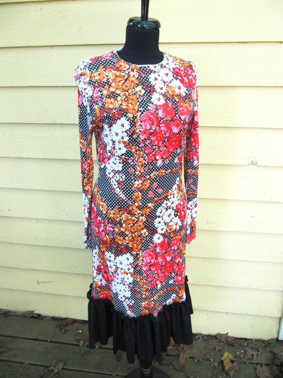 Arnel Floral Print Dress Black Ruffle Size 38 1980