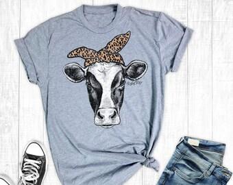 2d20935fdc56 Leopard Cow T-Shirt, Women's T-shirt, Farm Shirts, Graphic Shirt, Cow Shirt,  Cowgirl Shirt, Country Shirt, Southern Shirts