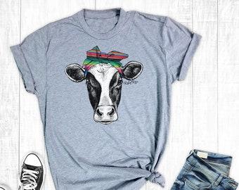 dd1bca610 Serape Cow Bandana T-Shirt, Women's T-shirt, Farm Shirts, Graphic Shirt,  Cow Shirt, Cowgirl Shirt, Country Shirt, Southern Shirts
