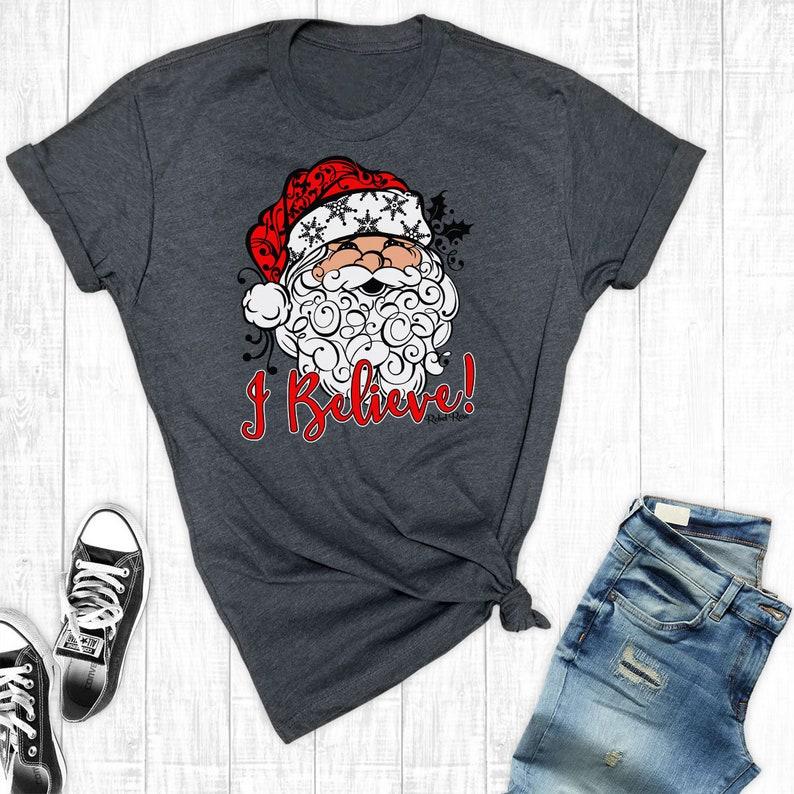 381d9aa01509 I Believe Christmas Shirt Santa Shirts Christmas T-Shirt | Etsy