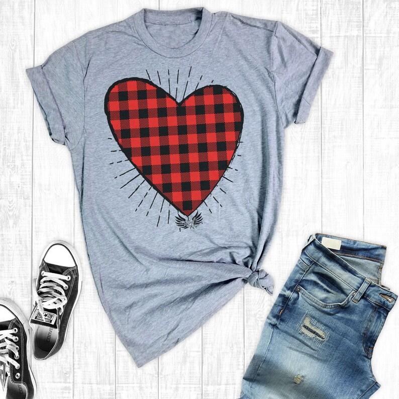 4798eb5ff318 Valentines Shirts Buffalo Plaid Heart Shirt Valentine's | Etsy