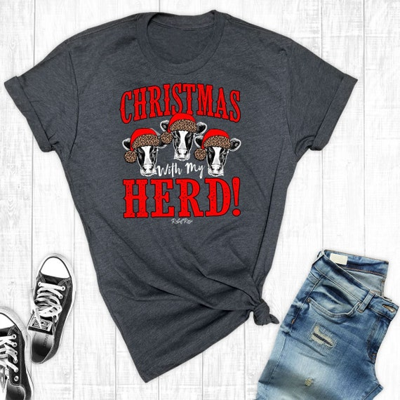 Christmas With My Herd Christmas Cow Shirt Leopard Cow  0cbe3c6339b4