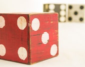 Vintage Red and White Giant Wooden Dice