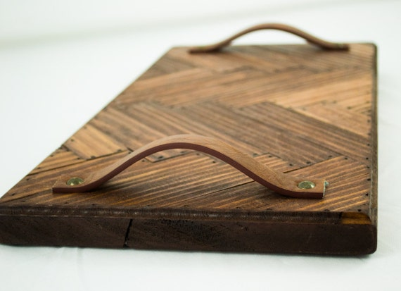 Natural Wood Serving Tray Distressed Wooden Wine And