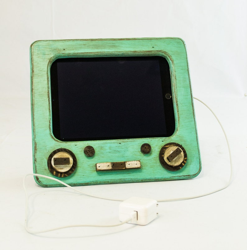 Teal Wooden Tv Ipad Stand Kitchen Ipad Docking Station