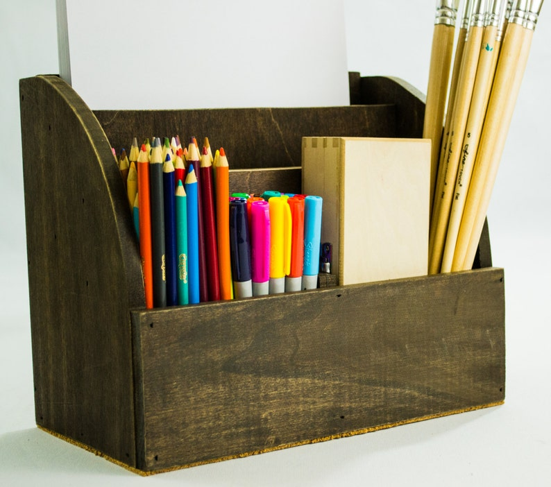 Wooden Desktop Art Supplies Box Office Mail And Magazine