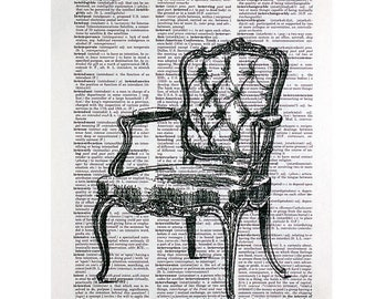 Louis XV Chair Print on a Vintage Dictionary Page