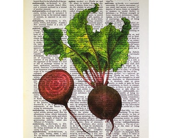 Beets Print on a Vintage Dictionary Page