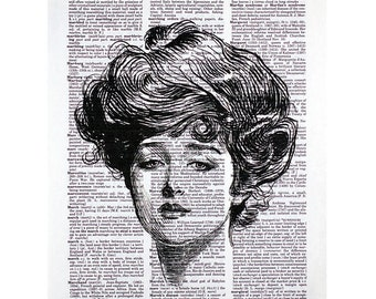 Gibson Girl I Print on a Vintage Dictionary Page