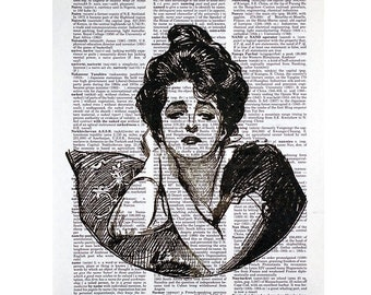 Gibson Girl IV Print on a Vintage Dictionary Page