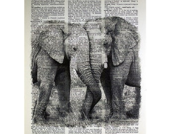 Elephant Couple Print on a Vintage Dictionary Page