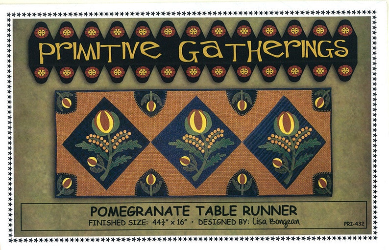 Primitive Gatherings Pomegranate Table Runner Pattern image 0
