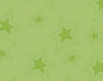 1/2 Yard Fox Trails Stars Green by Doohikey Designs for Riley Blake