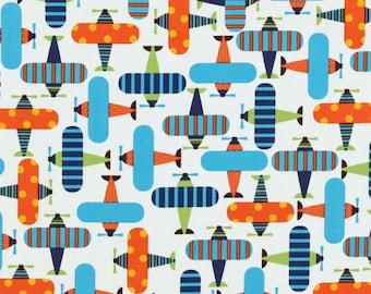 Odd-Cut Ready Set Go Airplanes Bright by Ann Kelle for Robert Kaufman #11272 Organic