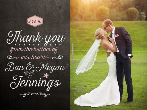 Blackboard Wedding Thank You Card Design Etsy