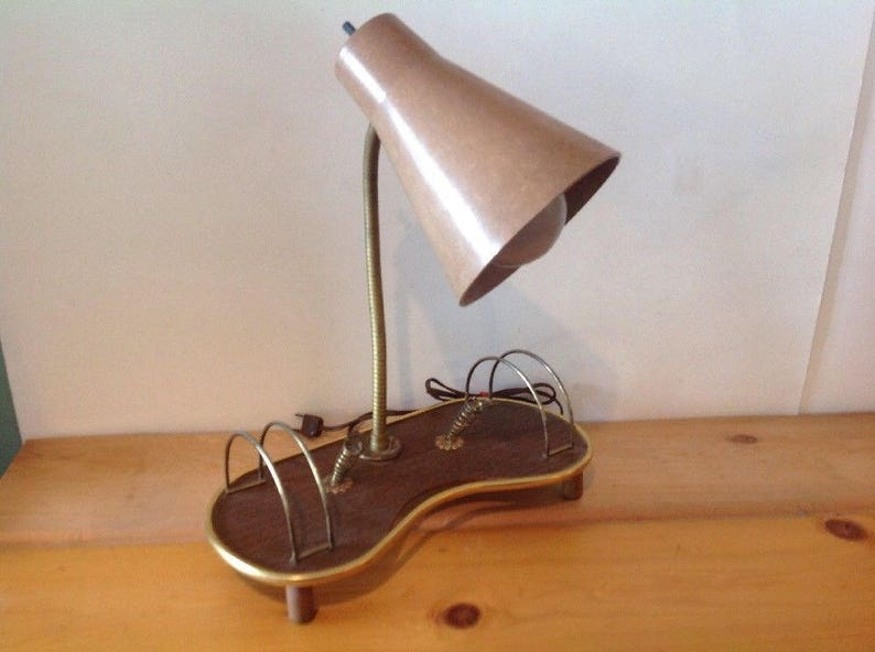 Vintage Working Mid Century Modern Dual Atomic Desk Wall Electric Light Lamp