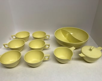 Yellow Melmac divided serving bowl coffee cups mugs sugar bowl creamer Westinghouse