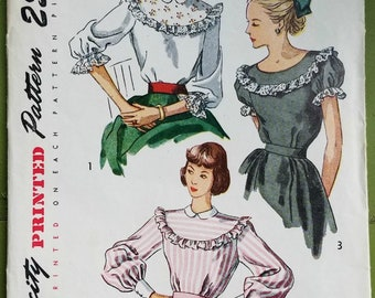 3cd6219381406a Vintage 1940s Simplicity Blouse Pattern 2483 in Size 16 Bust 34