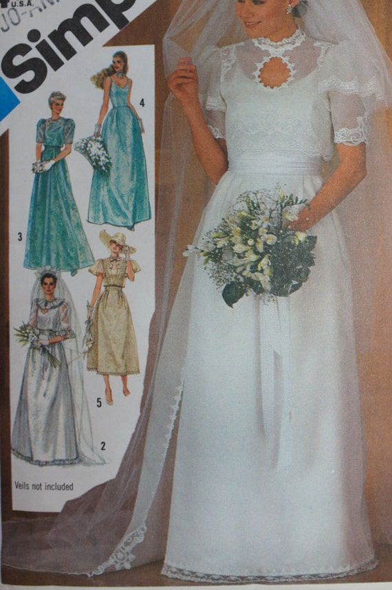 Vintage Wedding Dress Pattern Simplicity 6405 Size 12
