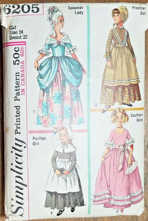 Girls Costume Patterns Simplicity 40 Colonial Lady Puritan Etsy Gorgeous Colonial Dress Patterns