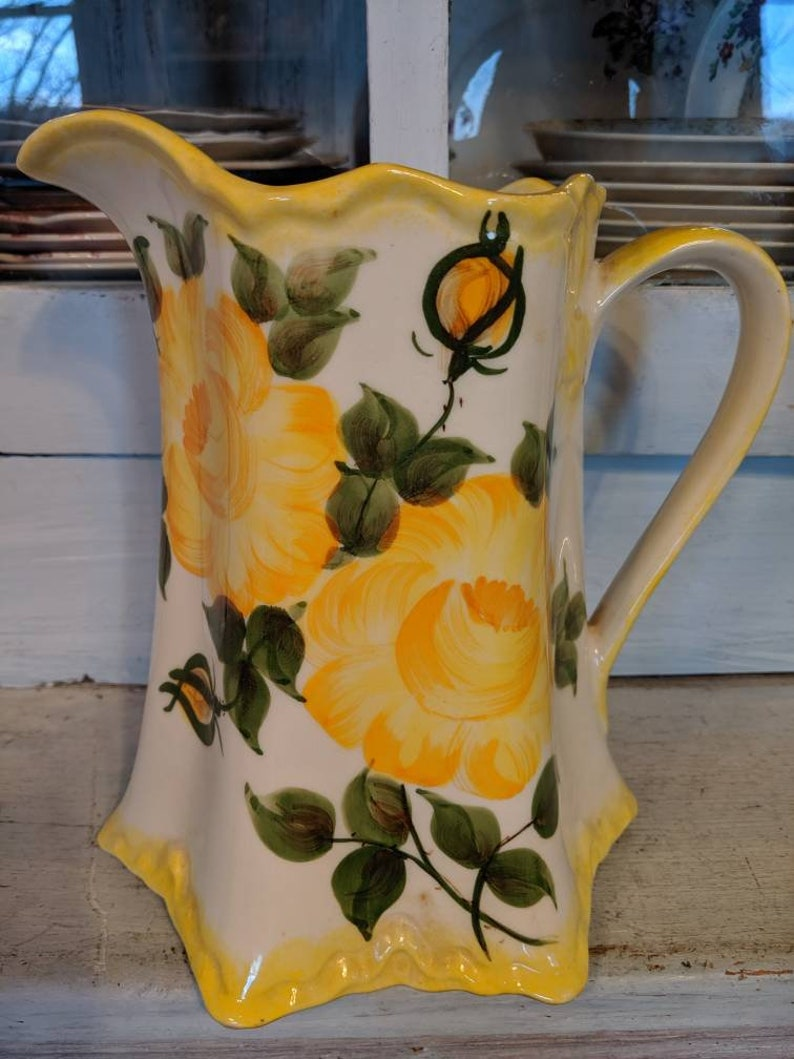 Lovely Yellow Rose Hand Painted Cash Family Pitcher