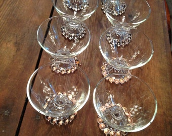 Eight vintage delicate glass sundae dishes
