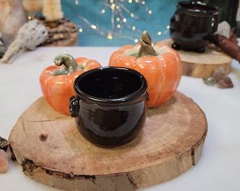 Mini Ceramic Witch's Cauldron and Pumpkin Halloween Set