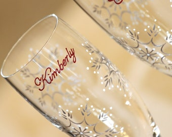 Bride and Groom Champagne Flutes Snowflakes with Wooden Flute Charms