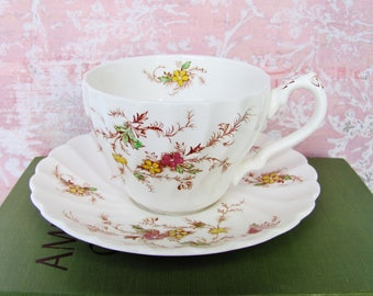 Tea Cup And Saucer Set Myott English Staffordshire China Heritage Pattern M 411 PU