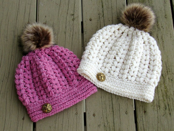 Crochet Hat Pattern Puff Stitch Hat Pattern Crochet Beanie Etsy