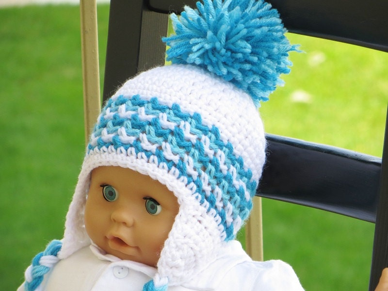 Crochet Ear Flap Hat Pattern Crochet Baby Boy Pattern Etsy