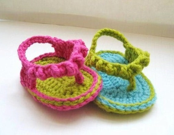 Crochet Sandals Pattern For Baby Baby Flip Flops Or Thongs Etsy