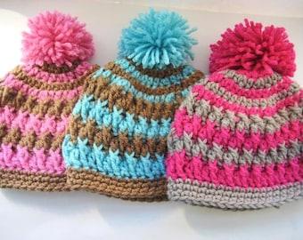 Crochet Pattern Hat , Crochet Hat Pattern, Crochet Baby Hat Pattern, Baby Beanie Pattern, Pdf Crochet Beanie Hat Pattern - Pom Pom Hat