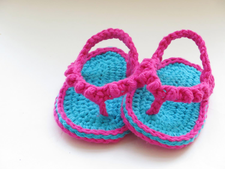 Crochet Pattern Baby Flip Flops Or Thongs For Girls Instant Etsy