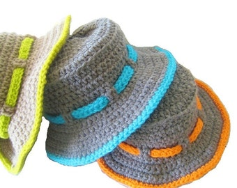 Boy's Sun Hat Crochet Pattern , Pdf pattern, Boy's Sun Hat,  Newborn to 10 Years,  Pdf Pattern